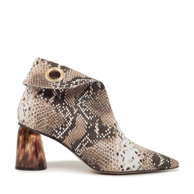 ASHLEY LIM designer boots for women - LAGARDE Embossed Python Leather Ankle Boots 1 folded down