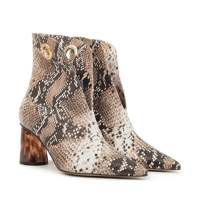 ASHLEY LIM designer boots for women - LAGARDE Embossed Python Leather Ankle Boots 2