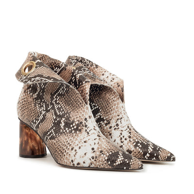 ASHLEY LIM designer boots for women - LAGARDE Embossed Python Leather Ankle Boots 2 folded down