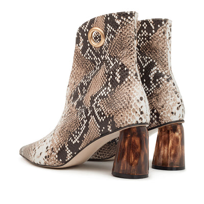 ASHLEY LIM designer boots for women - LAGARDE Embossed Python Leather Ankle Boots 3