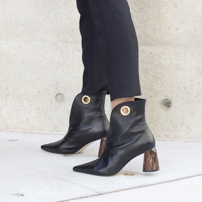ASHLEY LIM designer boots for women - LAGARDE Black Leather Ankle Boots styled with black cropped pants