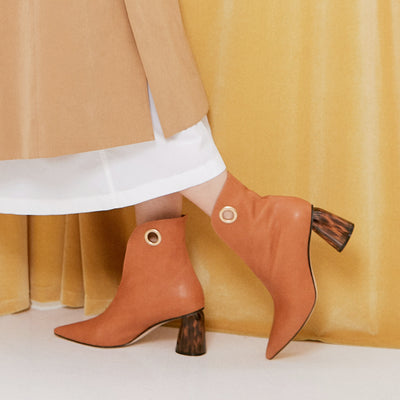ASHLEY LIM designer boots for women - LAGARDE Vegetable Tanned Leather Ankle Boots styled with a trench coat