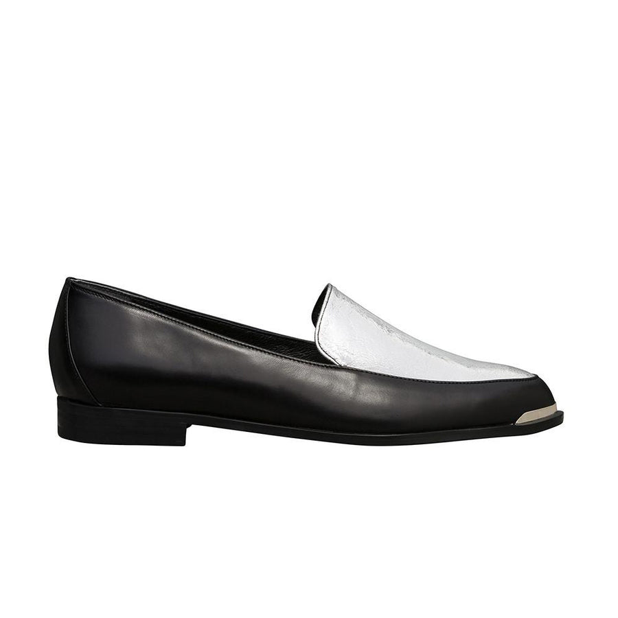 Women's Designer Loafers - Persia Black and Sliver Paneled Loafers - Side