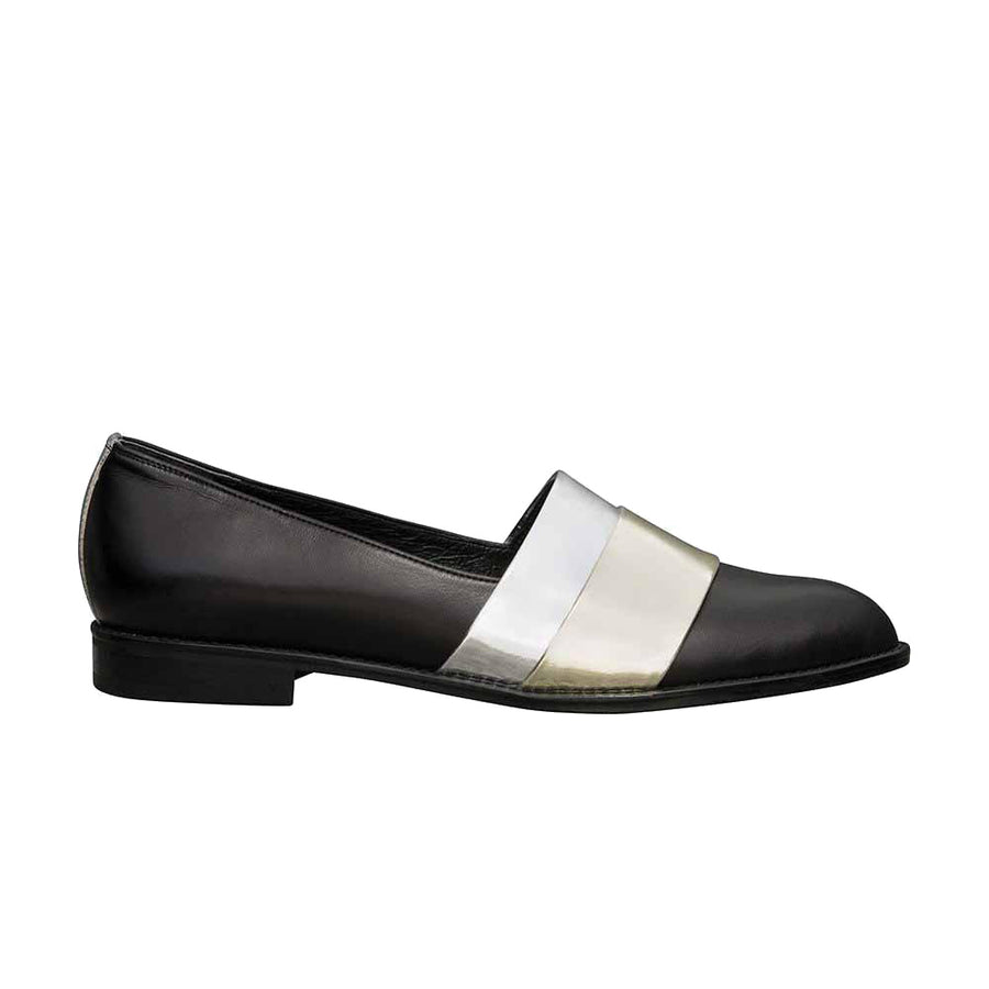Women's Designer Leather Flat Loafers -Rumi Metallic Black Loafers - Side