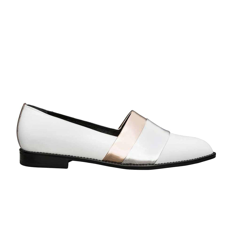 Women's Designer Leather Flat Loafers - Rumi Metallic White Loafers - Side