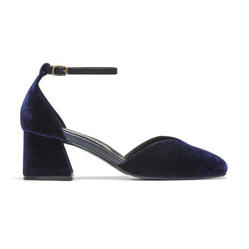 SCARLETT Mary Jane Pumps - Navy Blue, Velvet - Extraordinary Ordinary Day