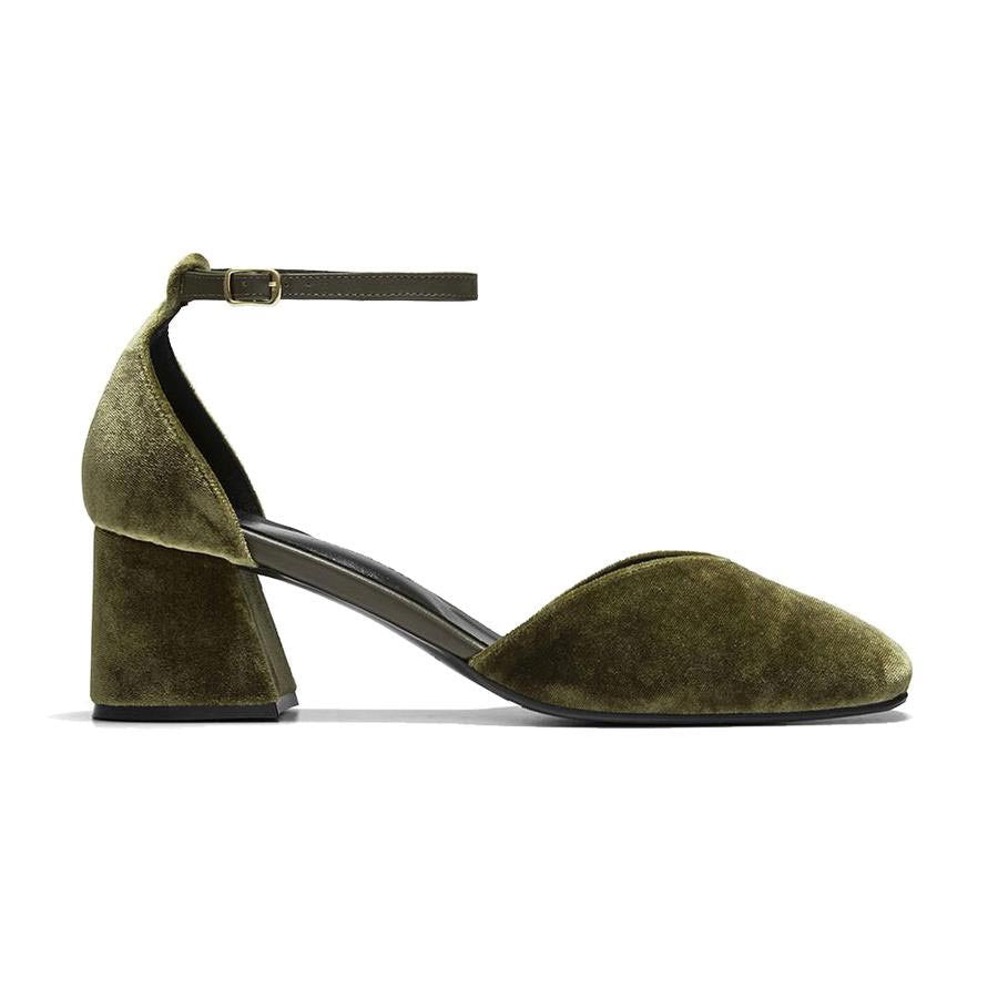 Women's Designer Mary Jane Shoes -Scarlett Olive Velvet Mary Jane Heels - Side