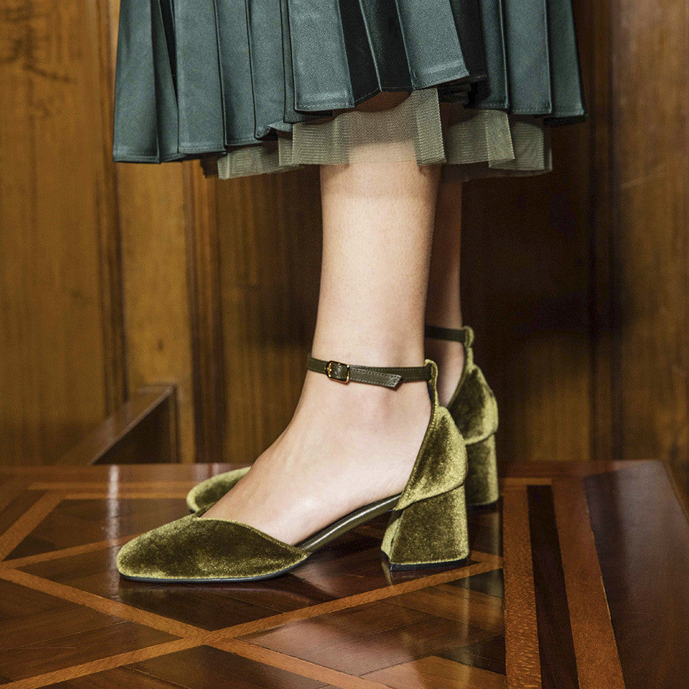 Women's Designer Mary Jane Shoes -Scarlett Olive Velvet Mary Jane Heels - Campaign