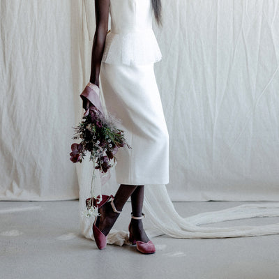 Scarlett velvet heels in blush pink for bridal shoot for Together Journal