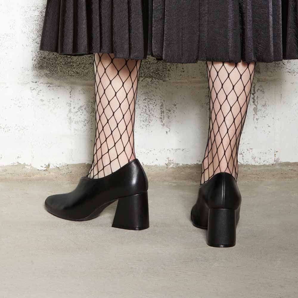 Women's Designer Pump Heel Shoes - Tara Black Leather Pumps with Fishnets