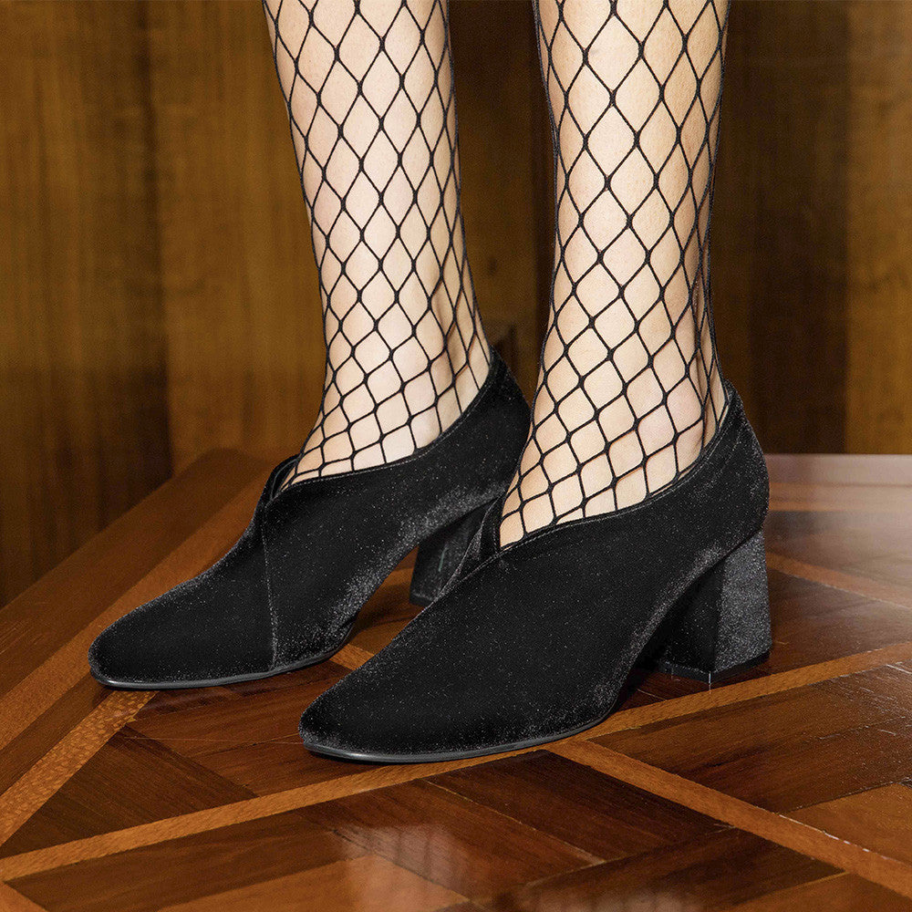 Women's Designer Pump Heel Shoes - Tara Black Velvet Pumps with Fishnets