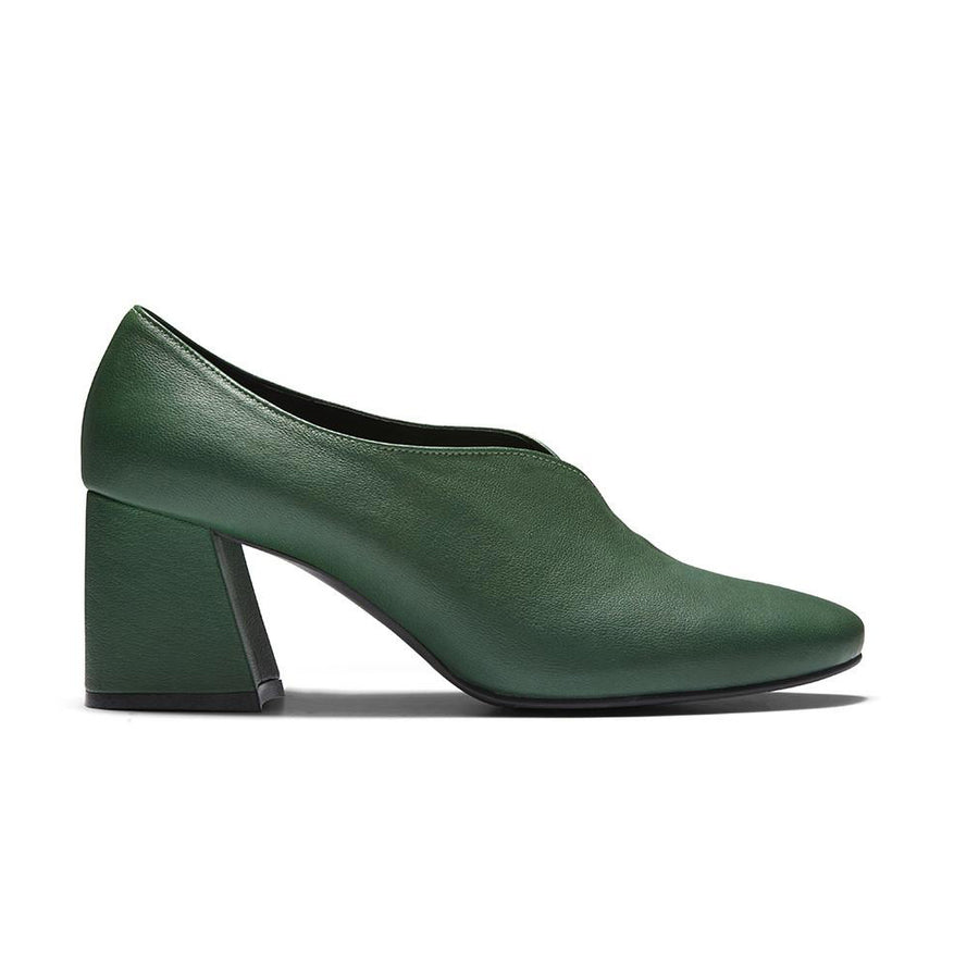 Women's Designer Pump Heel Shoes - Tara Green Leather Pumps - Side