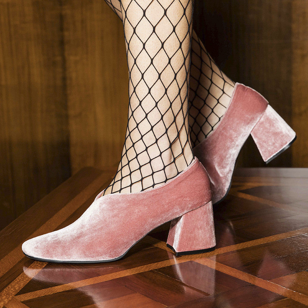 Women's Designer Pump Heel Shoes - Tara Pink Velvet Pumps with Fishnets