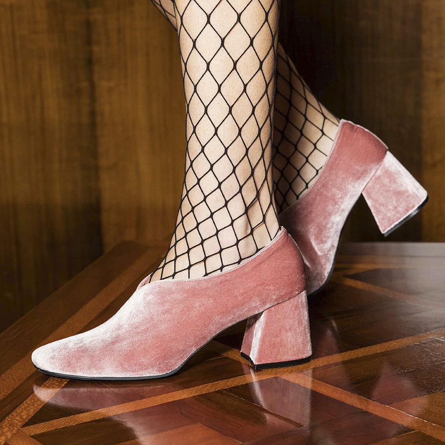 Women's Designer Pump Heel Shoes - Tara Pink Velvet Pumps - Side