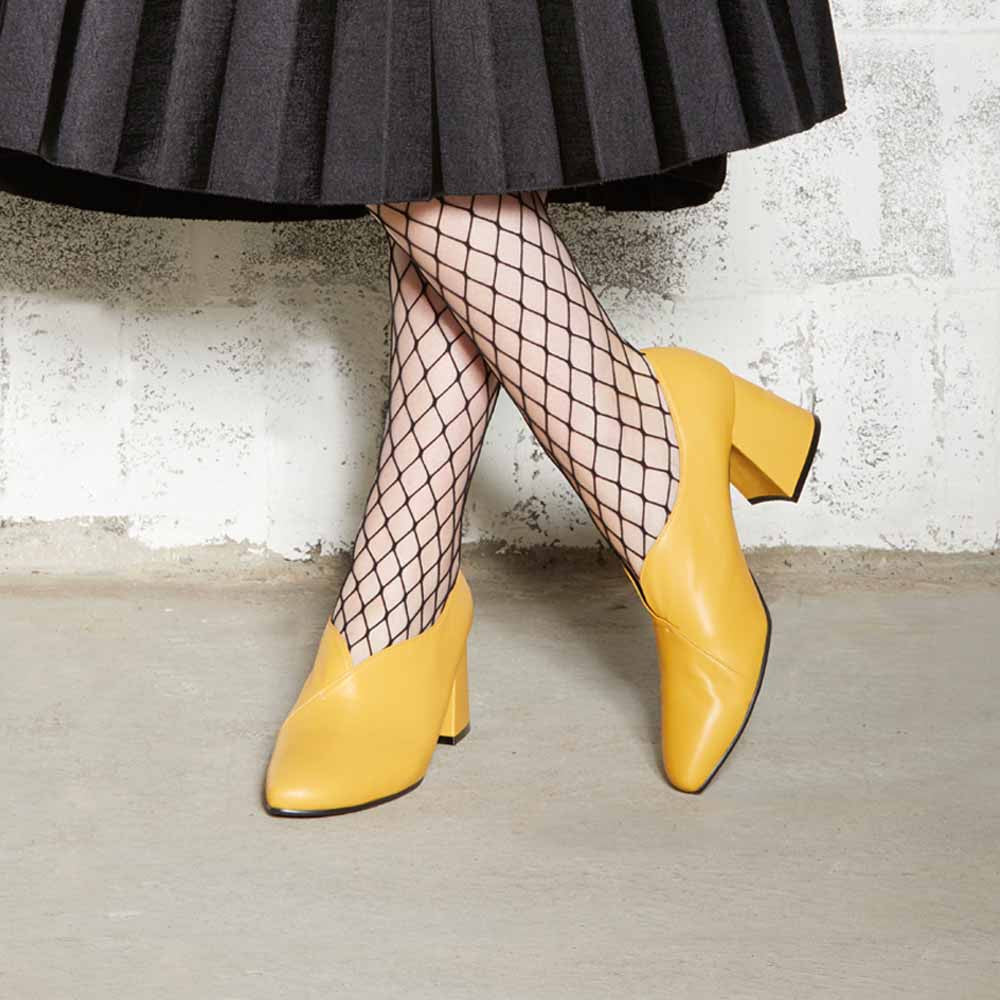 Women's Designer Pump Heel Shoes - Tara Yellow Leather Pumps with Fishnets