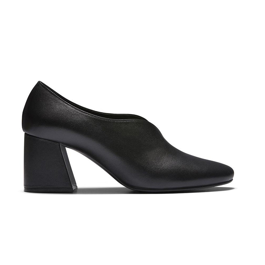 Women's Designer Pump Heel Shoes - Tara Black Leather Pumps - Side