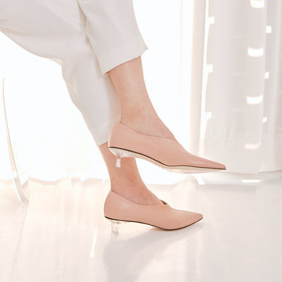 ASHLEY LIM designer shoes for women - VICTORIA Blush Leather Pump Heels styled with white trousers