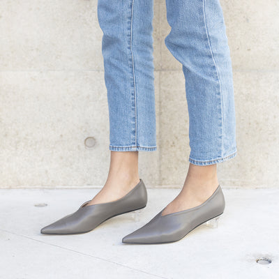 ASHLEY LIM designer shoes for women - VICTORIA Grey Leather Pump Heels styled with cropped jeans