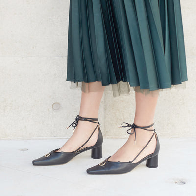 ASHLEY LIM designer shoes for women - Valentina Brown Leather Strap Pumps styled with satin green skirt