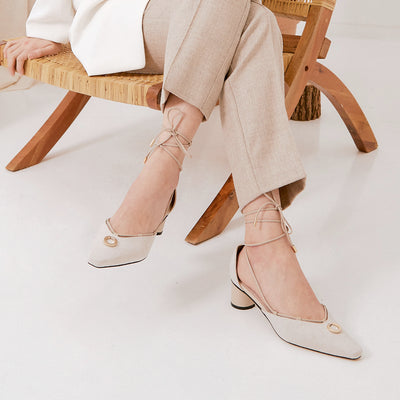 ASHLEY LIM designer shoes for women - Valentina Linen Strap Pumps styled with neutral beige trousers