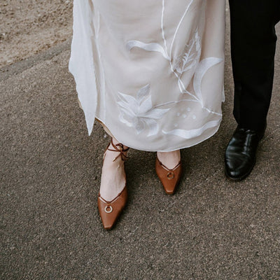 Valentina brown strap pumps in Italian embossed leather for Katia's wedding