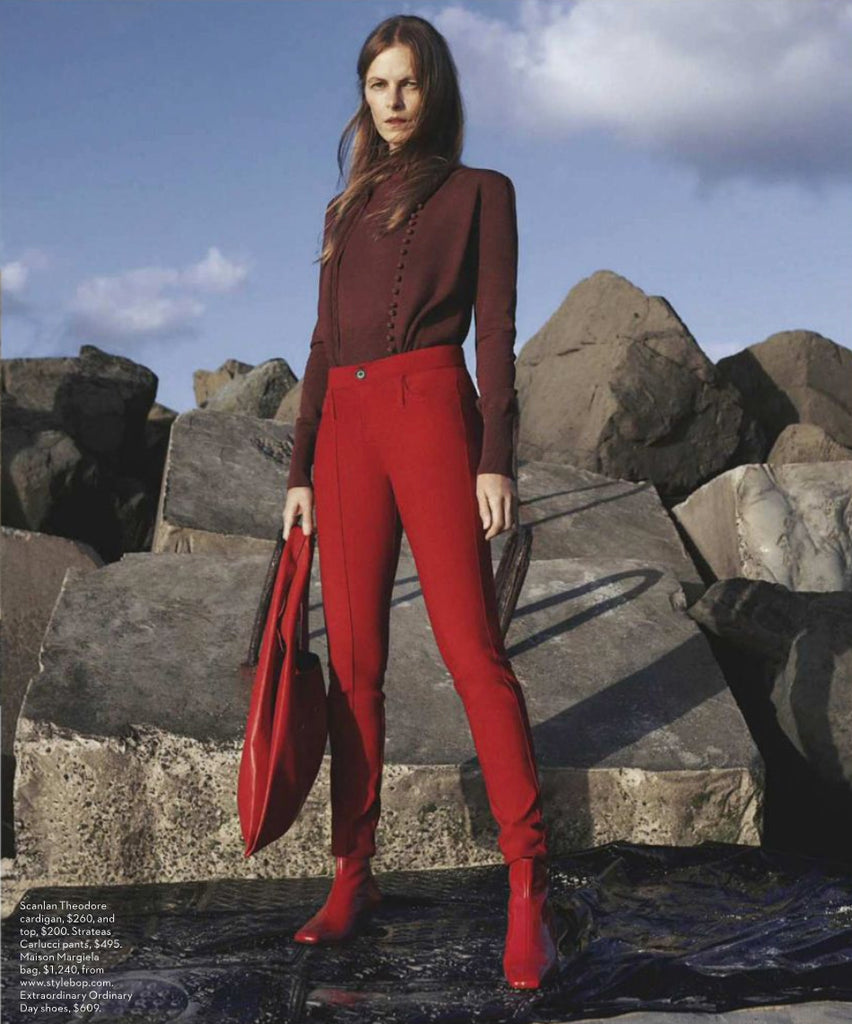 Vogue Australia featuring Emma Balfour modelling Femme Red Kitten Heel Ankle Boots