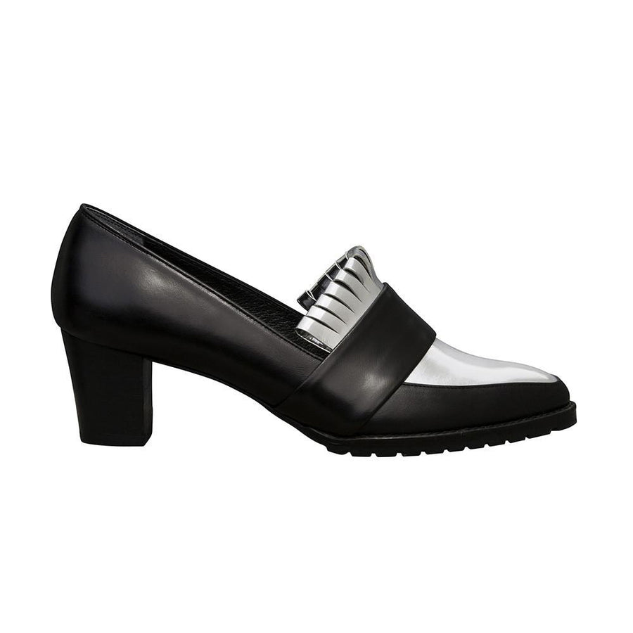 BABYLON Block Heel Fringe Pumps - Black and Metallic Silver - Extraordinary Ordinary Day