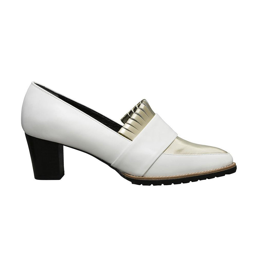 Women's Designer Block Fringe Shoes - Babylon White and Metallic Gold Pumps - Side