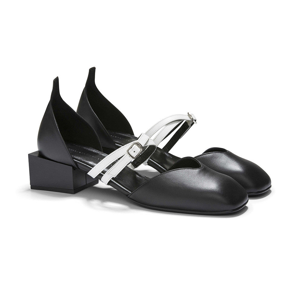 Women's Designer Mary Jane Flat Shoes - Bonnie Black Flats with Double Straps and Square Block Heels - Angle