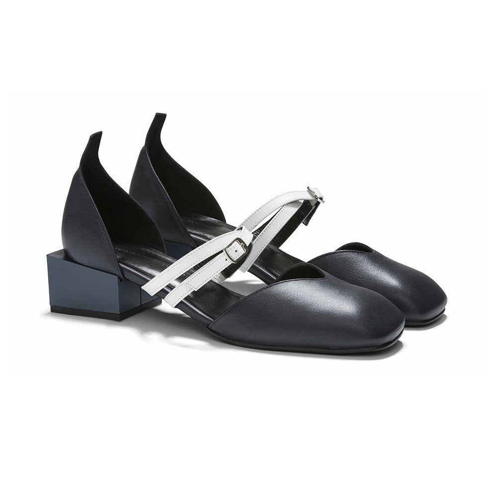 Women's Designer Mary Jane Flat Shoes - Bonnie Navy Flats with Double Straps and Square Block Heels - Angle