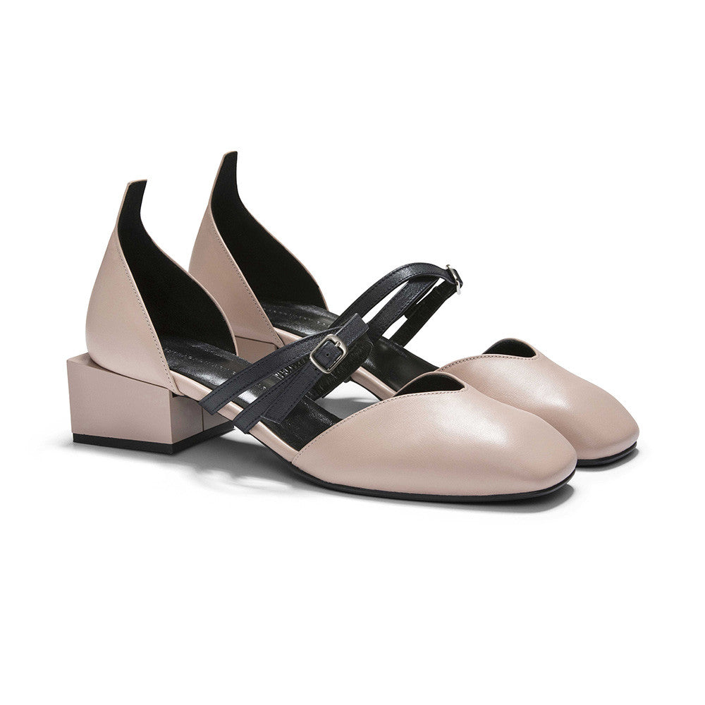 Women's Designer Mary Jane Flat Shoes - Bonnie Pink Nude Flats with Double Straps and Square Block Heels - Angle