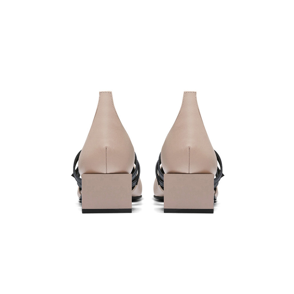 Women's Designer Mary Jane Flat Shoes - Bonnie Pink Nude Flats with Double Straps and Square Block Heels - Block Heel