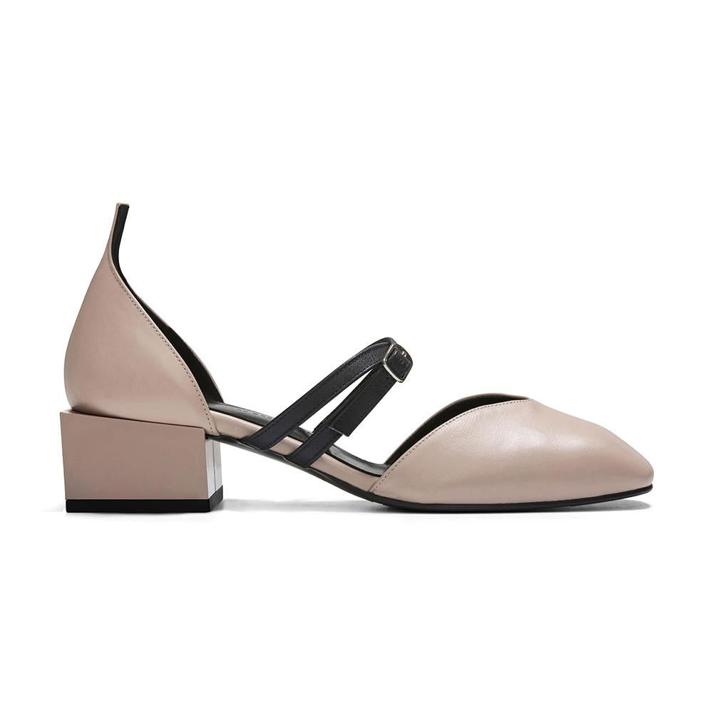 Women's Designer Mary Jane Flat Shoes - Bonnie Nude Pink Flats with Double Straps and Square Block Heels - Side