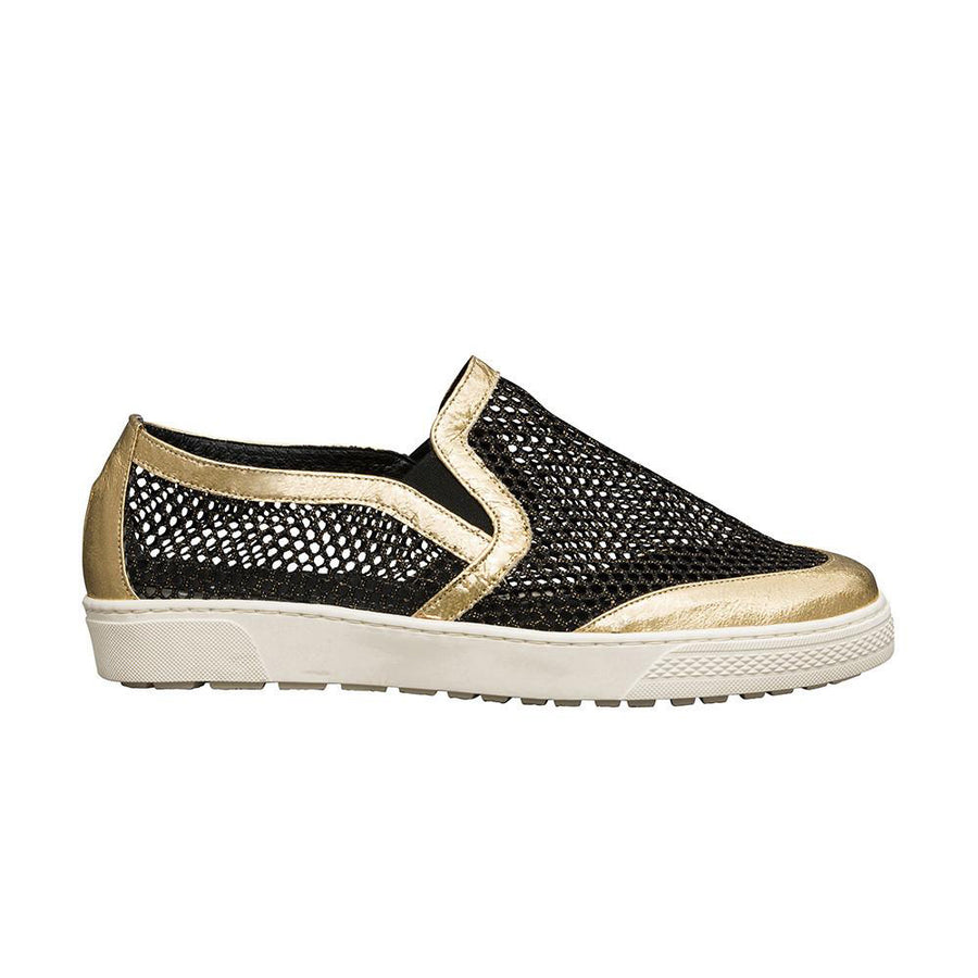 Women's Designer Shoes - Byzantine Mesh Slip On Sneakers with Gold Leather Trim - Side