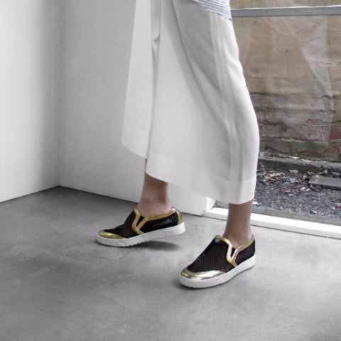 Women's Designer Shoes - Byzantine Mesh Slip On Sneakers with Gold Leather Trim - Campaign