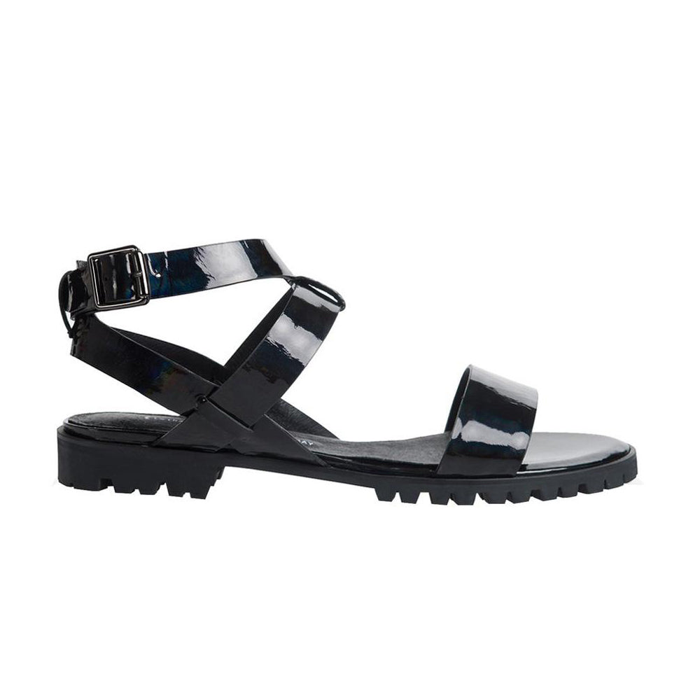 Women's Designer Sandals - Comet Rainbow Black Flat Sandals with Ankle Strap - Side