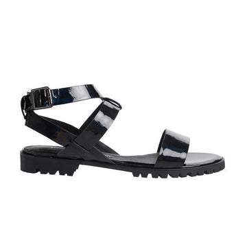 Made to Order | COMET Ankle Strap Flat Sandals - Patent Black - Extraordinary Ordinary Day
