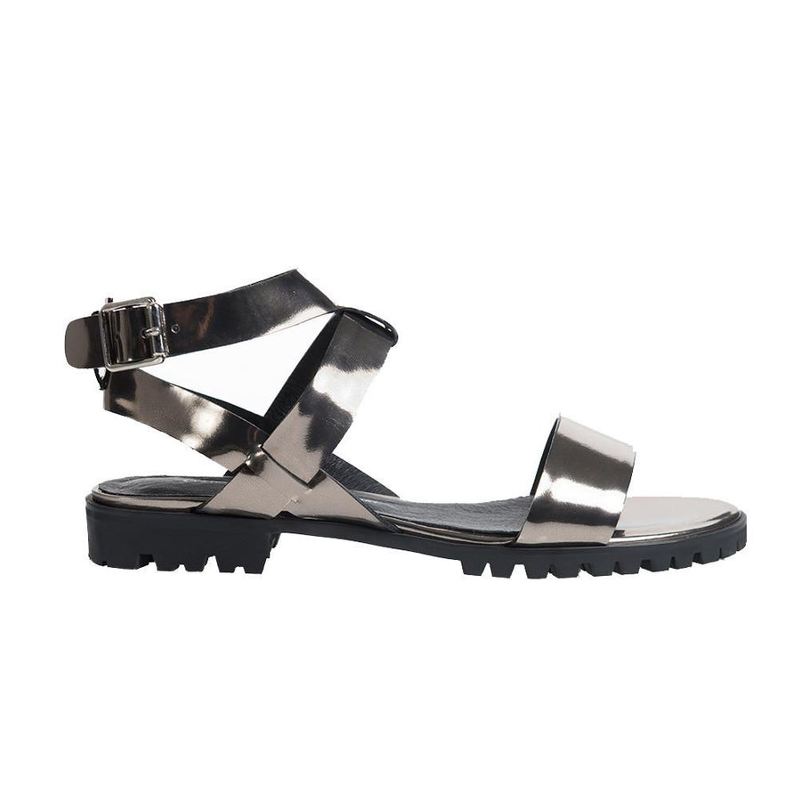 Women's Designer Sandals - Comet Metallic Platinum Flat Sandals with Ankle Strap - Side