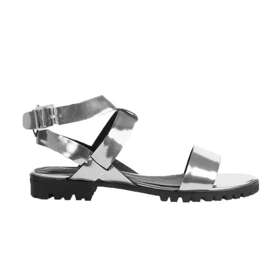 Women's Designer Sandals - Comet Metallic Silver Flat Sandals with Ankle Strap - Side