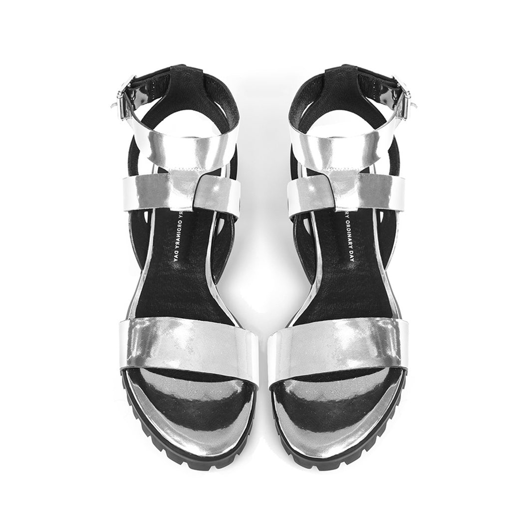 Women's Designer Sandals - Comet Metallic Silver Flat Sandals with Ankle Strap - Flatlay