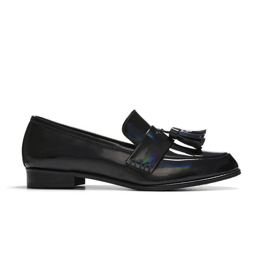 Women's Designer Shoes - Ecstasy Tassel Loafers Rainbow Black - Side