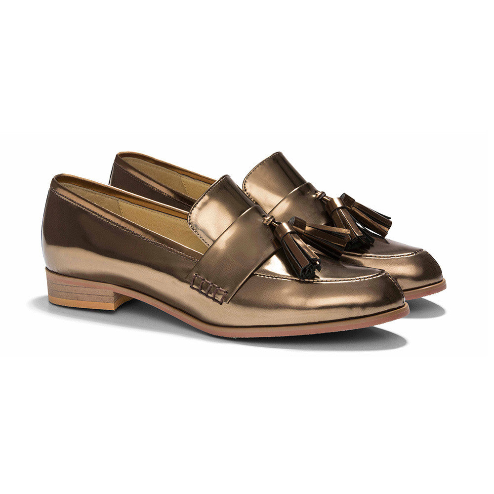 Women's Designer Shoes - Ecstasy Tassel Loafers Metallic Bronze - Angle
