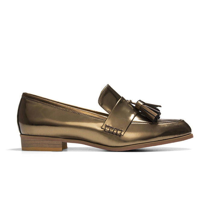 Women's Designer Shoes - Ecstasy Tassel Loafers Metallic Bronze - Side