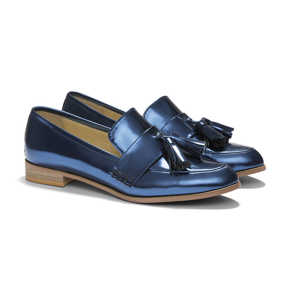 Women's Designer Shoes - Ecstasy Tassel Loafers Metallic Cobalt - Prospective