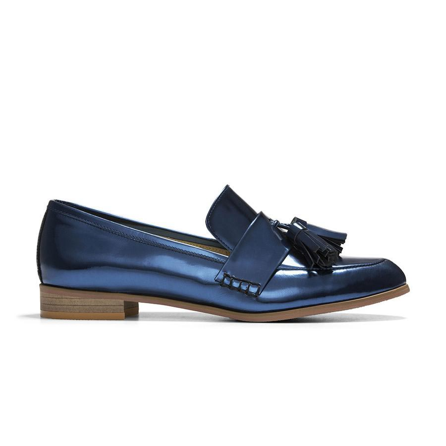 Women's Designer Shoes - Ecstasy Tassel Loafers Metallic Cobalt - Side