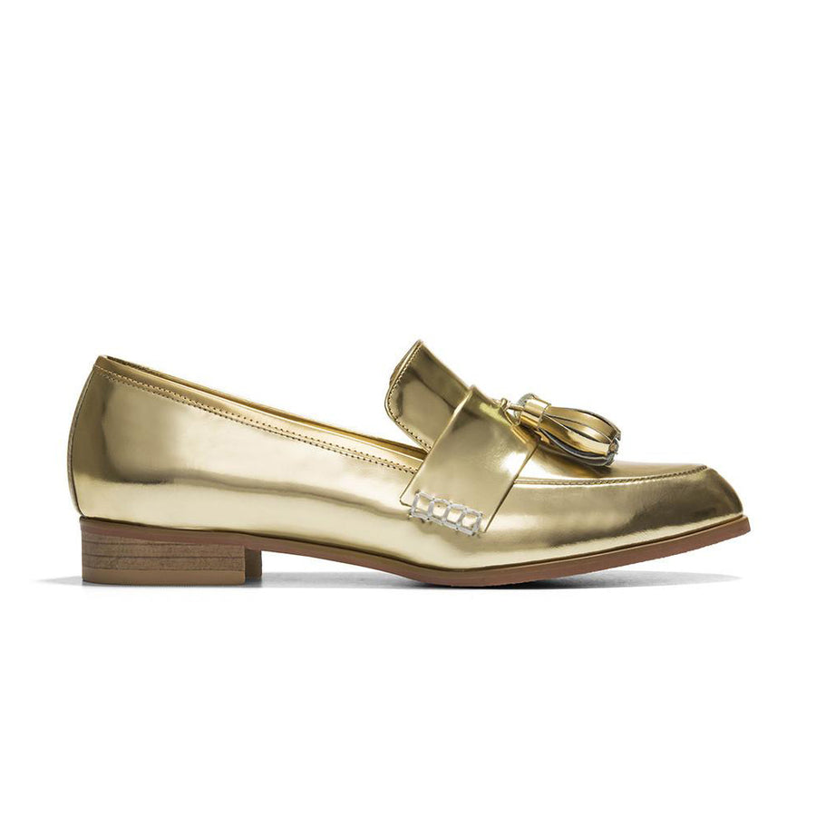 Women's Designer Shoes - Ecstasy Tassel Loafers Metallic Gold - Side