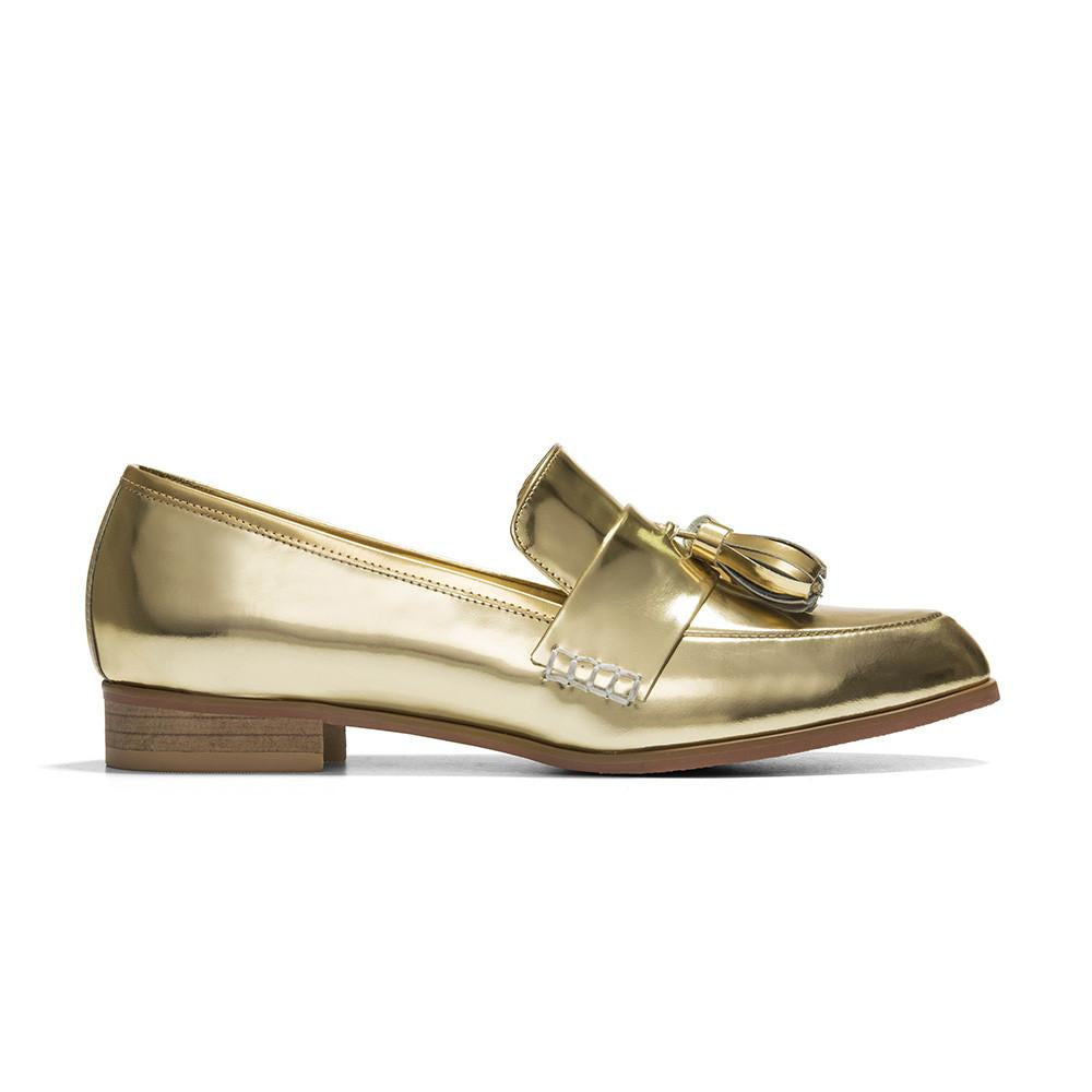 Women's Designer Shoes - Ecstasy Tassel Loafers Gold - Side