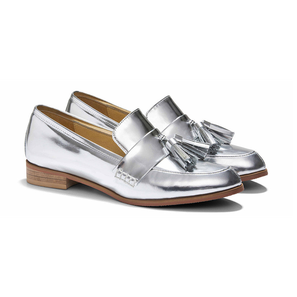 Women's Designer Shoes - Ecstasy Tassel Loafers Metallic Silver - Prospective