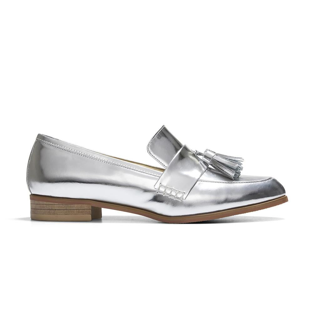 Women's Designer Shoes - Ecstasy Tassel Loafers Silver - Side