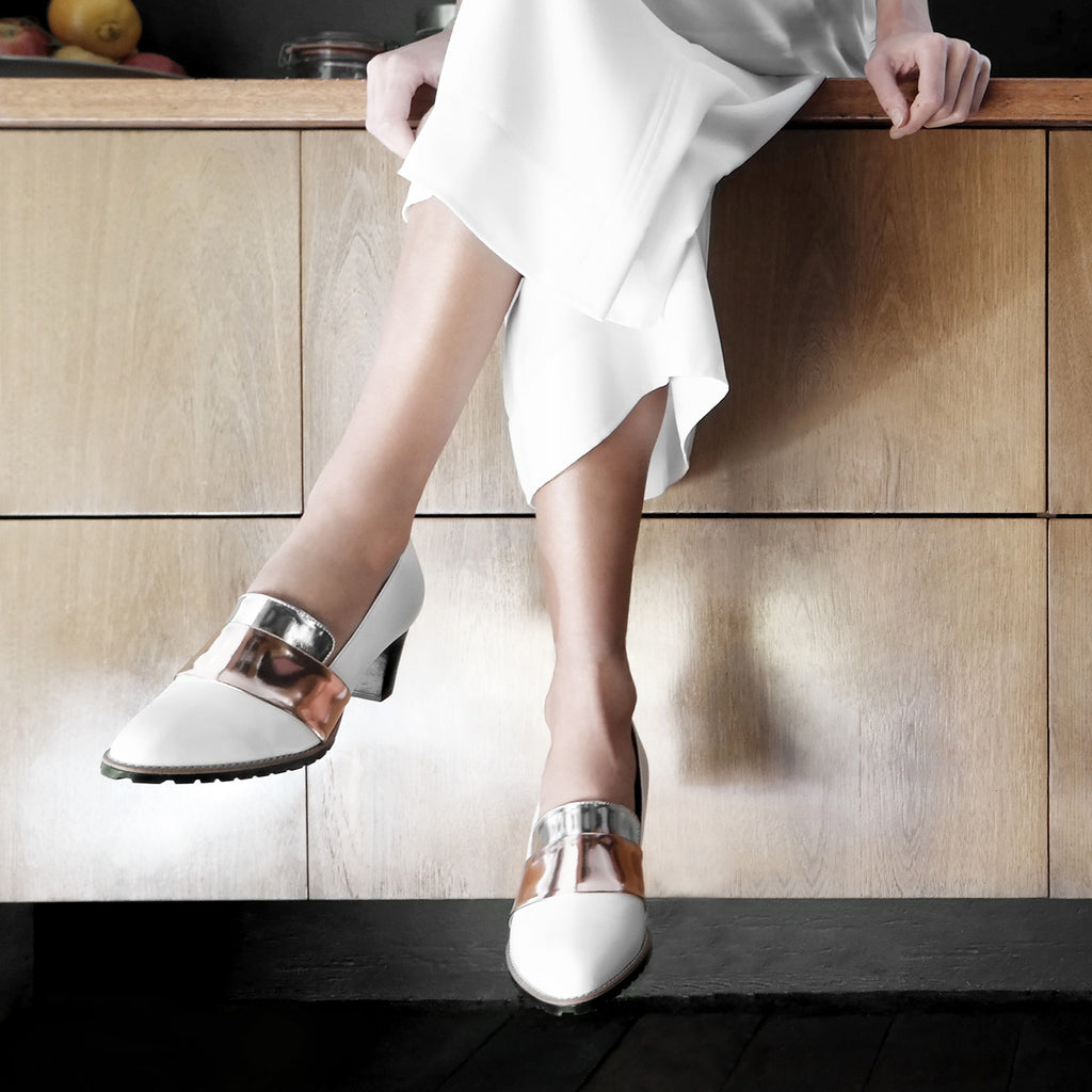 Women's Designer Pump Shoes - Sheba Block Heel Pumps - White with Metallic Band - Campaign